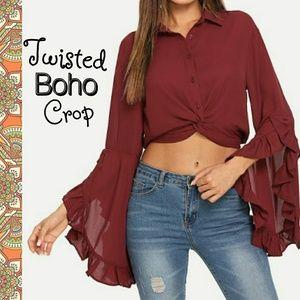 Tops - Twisted Bell Sleeve Boho Crop Top
